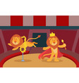 lions trick animal fire performance in circus vector image vector image