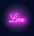 love neon lettering on dark background vector image vector image