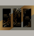 luxury style floral black and gold banners set vector image
