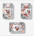 meat packing with label and pattern vector image
