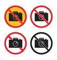 No photography icons no camera sign set