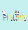 panda characters in different positions banner vector image