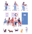 people with pets in veterinary clinic cartoon vector image