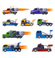 racing trucks collection fast heavy sport vector image vector image