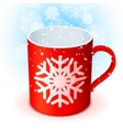 Red Cup and Snowflake vector image vector image