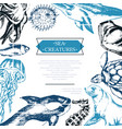 sea creatures - color vintage postcard template vector image vector image