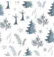 seamless forest pattern fir trees and herbs vector image vector image