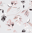 seamless pastel grey floral pattern with foliage vector image