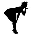 silhouette of pin-up sexy girl vector image