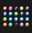social media modern 3d web icons set vector image vector image