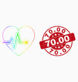 spectral dotted heart pulse icon and vector image vector image