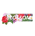t-shirt print with flowers and slogan blossom vector image vector image