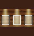 three picture frames on wooden board vector image vector image
