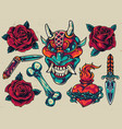 vintage colorful tattoos set vector image