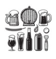vintage set of beer objects old wooden mug vector image