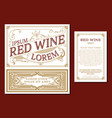 vintage thin line style red wine label winemaking vector image