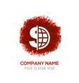 world currency icon - red watercolor circle splash vector image