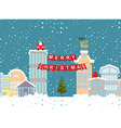 Christmas of winter city and garland Background fo vector image