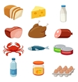 Set of food and products icons Isolated on white vector image