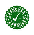 approved scratched stamp with tick vector image vector image
