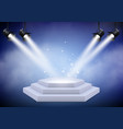 award podium empty trophy event stage with stairs vector image vector image