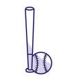 baseball bat and ball equipment isolated icon vector image vector image
