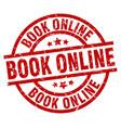 book online round red grunge stamp vector image vector image