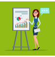 Business woman giving a presentation speech vector image vector image