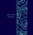 card with pale blue outline roses on the navy blue vector image vector image