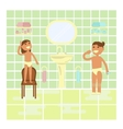 Children on the bathroom interior background vector image vector image