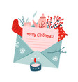 christmas bouquet with letter in envelope set vector image vector image