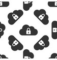 cloud computing lock icon seamless pattern vector image vector image