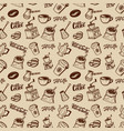 coffee seamless pattern beans mills cups vector image