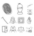 crime and punishment outline icons in set vector image vector image