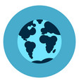 earth globe with map icon web button on round blue vector image vector image