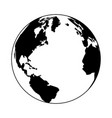 earth world symbol in black and white vector image vector image