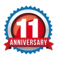 Eleven years anniversary badge with red ribbon vector image