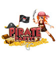 font design for word pirate party with pirate and vector image vector image