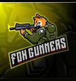 fox gunners esport logo design vector image vector image