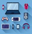 game gadgets set gaming powerful laptop digital vector image