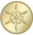 gold coin snowflake vector image vector image