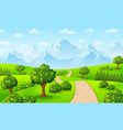 green landscape with mountains and trees vector image