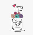 hand draw wedding card with flower mason jar vector image