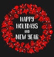 happy holidays and new year red christmas card vector image