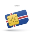 Iceland mobile phone sim card with flag vector image