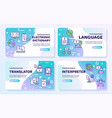 language learning outline icons set vector image vector image