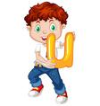 Little boy holding letter u vector image vector image