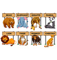 Many type of animals with wooden signs vector image vector image