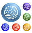 neptun planet icons set vector image vector image
