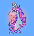 pink-blue magic galaxy shiny unicorn horse pony vector image vector image